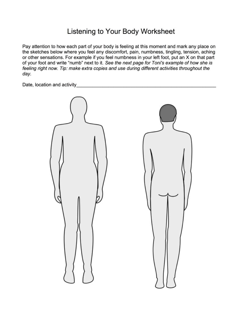 Worksheet showing front and back of bodies, so you can mark places where your body is giving you messages