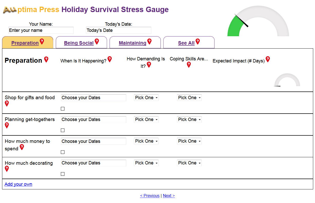 Auptima Press Holiday Stress Gauge